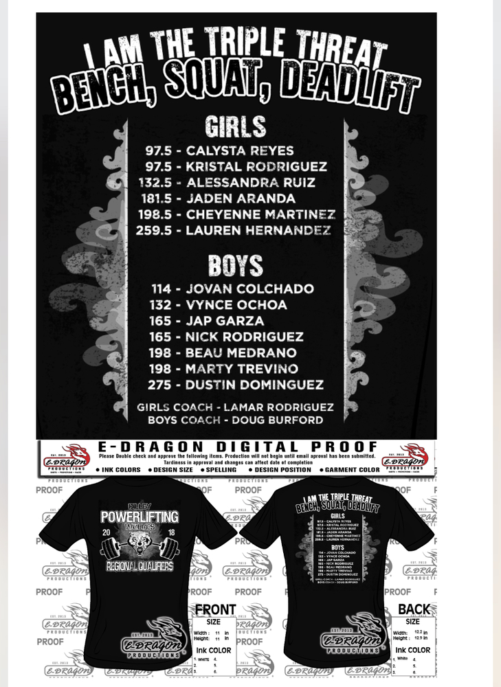 Boys/Girls Powerlifting Regional T-Shirts