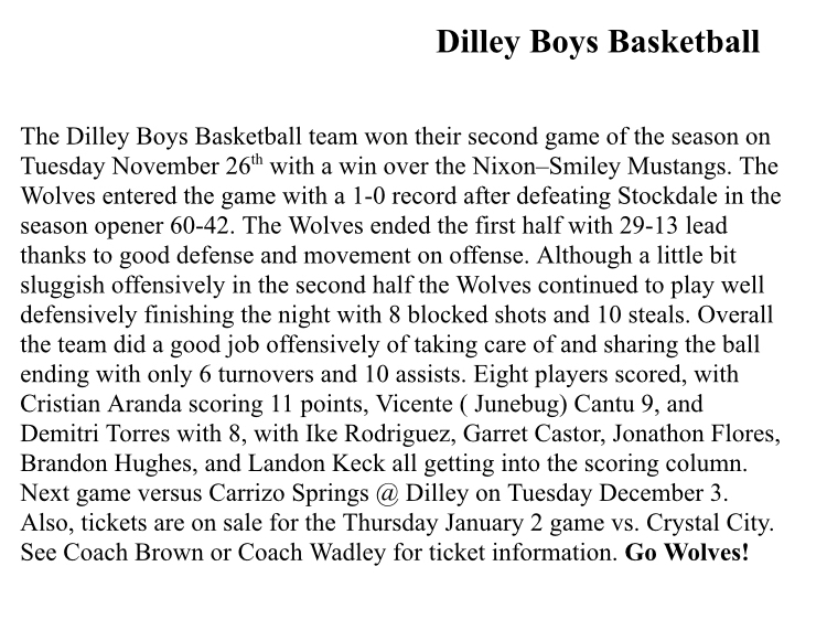 Wolf basketball sports write up.